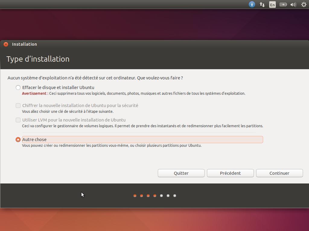 l'installation d'ubuntu sur la clé USB